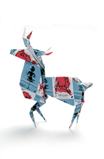South Bank Centre London Christmas Card Reindeer Origami 1998 by John Pasche photography by Derek Askem