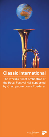 Classic International banner Royal Festival Hall 2001 / 2002 by John Pasche Photography by Barbara and Zafer Baran