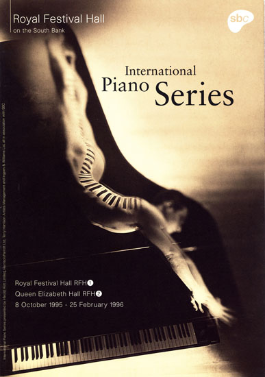 International Piano Series leaflet Royal Festival Hall 1995 - 1996 by John Pasche Photography by Spencer Rowell