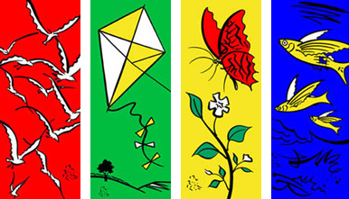 South Bank Centre Summer Season Flags 2001 by John Pasche Illustration by Brian Grimwood